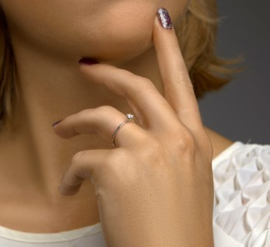Witgouden Palladium Ring met Diamant Kopstuk