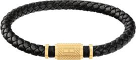 Zwart Lederen Gevlochten Armband van Tommy Hilfiger
