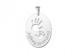 Names4ever Zilveren Handjes Geboorte Sieraad met Naam en Datum