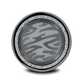 LOCKits Zilverkleurige Dierenprint Munt met Zirkonia's 33mm