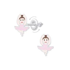 Zilveren Ballerina Kinderoorbellen met Schroefsluiting