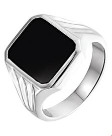 Achthoekige Zwarte Onyx Zegelring van Zilver