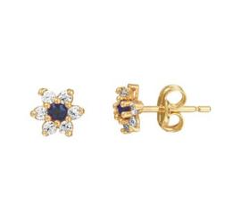 Flora Flower Gouden Zirkonia Diamanten Rozet Oorknoppen met Blauwe Saffier