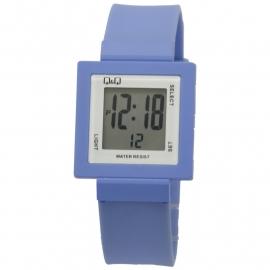Q&Q digitaal horloge + Blauw kunststof horlogeband