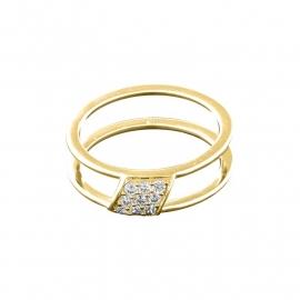 Goudkleurige Ring van Zilver met Negen Zirkonia's van MY iMenso