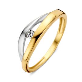 Excellent Jewelry Geelgouden Dames Ring met Witgouden Strook en Zirkonia