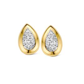 Excellent Jewelry Geelgouden Druppelvormige Oorstekers met Briljanten