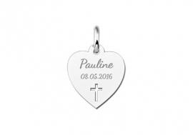 Names4ever Zilveren Hart met Kruis Communie Hanger