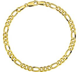 Elegante Gouden Figaro Schakelarmband   4,6 mm 21 cm