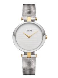 Zilverkleurig Ring-O Dames Horloge met Goudkleurige Elementen van M&M