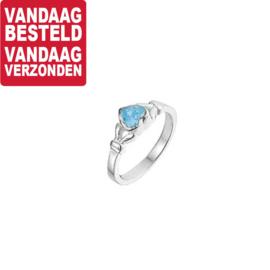 Zilveren Ring voor Kinderen met Blauwe Topaas / Maat 14