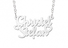 Names4ever Christel-Stefan Stijl Zilveren Naamketting