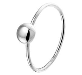 Slanke Ring van Gerhodineerd Zilver met Bolletje