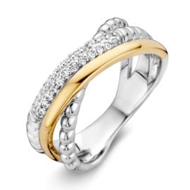 Excellent Jewelry Abstracte Witgouden Ring met Geelgouden Strook