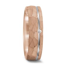 Roségouden Matte Dames Trouwring met Zilveren Lijn en Diamant