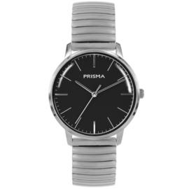 Zilverkleurig Prisma Heren Horloge met Zwarte Wijzerplaat en Rekband