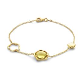 Excellent Jewelry Gouden Armband met Bloemvormen en Edelstenen