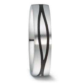 Zilveren Carbon Heren Trouwring