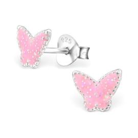 Zilveren Kinderoorbellen Vlinder met Roze Glitters