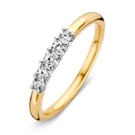 Excellent Jewelry Geelgouden Dames Ring met Witgouden Zirkonia Kopstuk