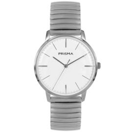 Zilverkleurig Prisma Heren Horloge met Rekband