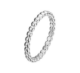 Bolletjes Ring van Gerhodineerd Zilver / Maat 18,5
