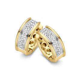 Excellent Jewelry Creolen van Geelgoud met 0,22 crt. aan Briljanten