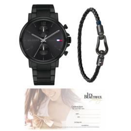 Tommy Hilfiger Zwarte Armband + Zwart Heren Horloge + Cadeaubon t.w.v. € 75,00 | Gift Set
