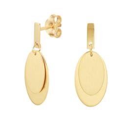 Gouden Oorhangers met Dubbele Ovale Hanger