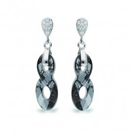Infinity Zwarte Swarovski Oorbellen van Spark Jewelry