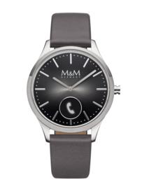Hybrid Smart Watch met Grijze Lederen Band van M&M