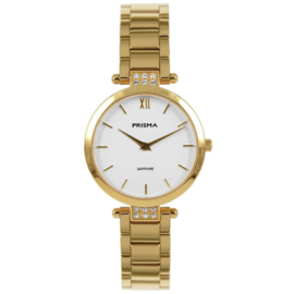 Goudkleurig Dames Horloge met Parelmoer en Zirkonia's van Prisma