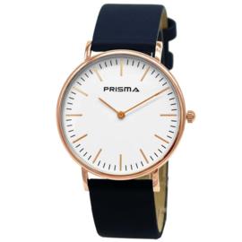 Prisma Roségoudkleurig Unisex Horloge met Blauwe Band