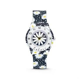 Donkerblauw Horloge voor Kids met Witte Bloemen van Colori Junior