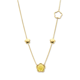 Excellent Jewelry Gouden Collier met Groene Kwarts Bloem Hanger