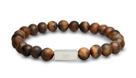 Essential Silver   Matte Tijgeroog Kralen Armband van Blaauw Bloed