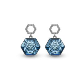 Favo Oorbellen met blauw Swarovski Kristal van Spark