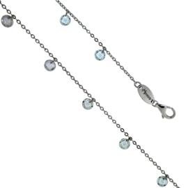 Luxe Zilveren Schakelarmband met Blauwe Zirkonia's