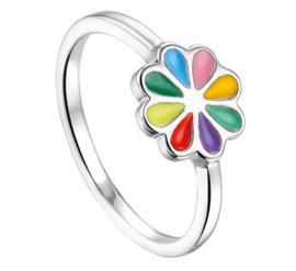 Zilveren Ring voor Kinderen met Regenboog Bloem