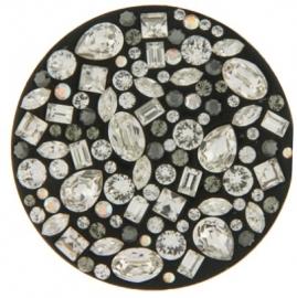 Zwarte zilver / schelp / Swarovski munt