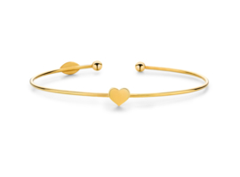 Super Stylish Goudkleurige Bangle Armband met Hart