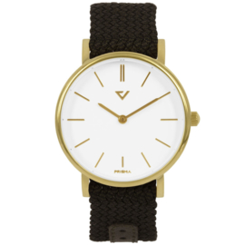 Prisma Goudkleurig Unisex Horloge met Bruine Nylon