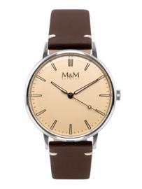 Zilverkleurig M&M Heren Horloge met Donkerbruine Horlogeband