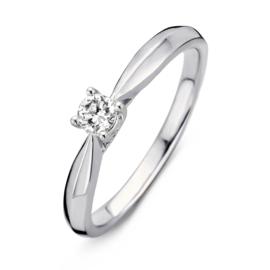 Excellent Jewelry Witgouden Ring met Vernauwing en 0,19 crt. Briljant