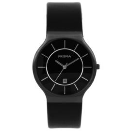 Zwart Heren Horloge met Zwart Lederen Horlogeband