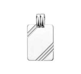 Stevige Rechthoekige Zilveren Graveer-hanger met Lijnen