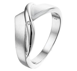 Matte Vlakke Gehoekte Ring met Gepolijste Bolle Strook en Diamant
