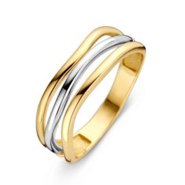 Excellent Jewelry Bicolor Ring met Drie Golvende Stroken