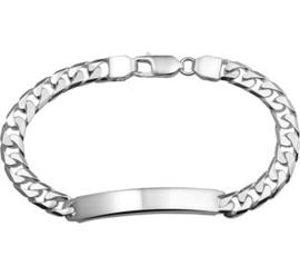 Gourmet Plaat 6 mm Graveer Armband van Zilver | Lengte 21 cm