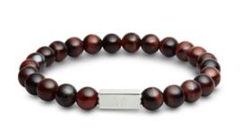 Essential Silver   Rode Tijgeroog Kralen Armband van Blaauw Bloed